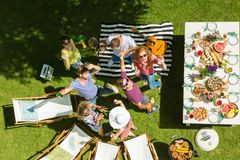 Grill party among friends. Grill party among best friends enjoying, delicious food, and warm weather Stock Photo