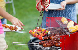 Grill party in a garden. Horizontal view of grill party in a garden Stock Photo
