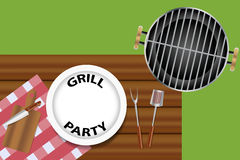 Grill party invitation concept. Top view of a wooden desk with accessories needed for grill and white plate with inscription Grill Party royalty free illustration