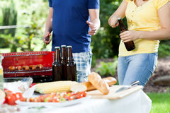 Grill party in sunny day Stock Photos