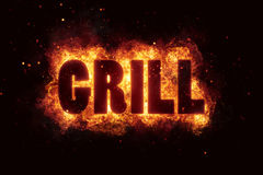 Grill Party text on fire flames explosion. Explode Stock Photos