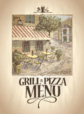Grill and Pizza menu with graphic illustration of a street cafe. Stock Image