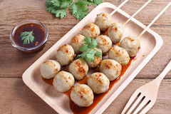 Grill pork balls pour Royalty Free Stock Photography