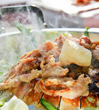 Grill pork in korea style. Close up of grill pork in korea style Royalty Free Stock Photos