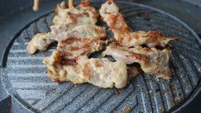 Grill pork on pan stock video