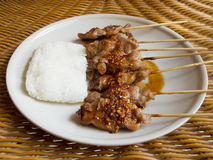 Grill pork and sticky rice Royalty Free Stock Photos