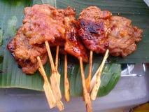 Grill pork street food. Grill pork stake Thai food style Stock Photo