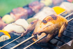 Grill. Quail on the grill. Grill pork meat. Grill burgers. Grill vegetables. Grill skewer Royalty Free Stock Photos
