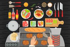 Grill Restaurant Cooking Table Elements Set View From Above stock illustration