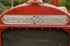 Grill of a restored McCormick Deering tractor. ROLLAG, MINNESOTA, September 10, 2016: A McCormick Deering grill of a restored tractor is displayed at the West Stock Photos