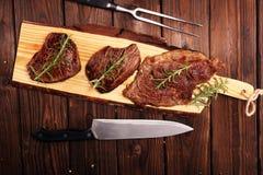 Grill Rib Eye Steak - trockenes gealtertes Wagyu-Mittelrippe vom Rind-Steak stockfoto