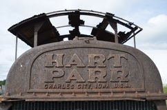 Grill of a rusty old Hart Parr tractor. BARNESVILLE, MINNESOTA, June 25, 2014: The old rusty Parr comes from Hart-Parr Tractor Company which began operations in stock image