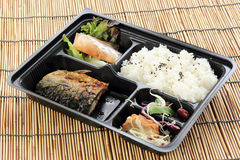 Grill Saba fish with steam rice in set box Royalty Free Stock Image