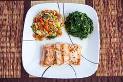 Grill salmon dish Royalty Free Stock Photos