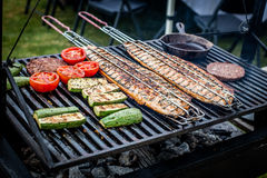 Grill. Salmon, meat and vegetables grill Royalty Free Stock Photos