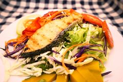 Grill salmon and salad royalty free stock images