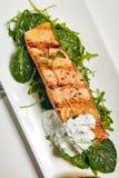 Grill Salmon Steak. Gourmet Restaurant Grill Fish Menu - Salmon Grill Steak Royalty Free Stock Photos