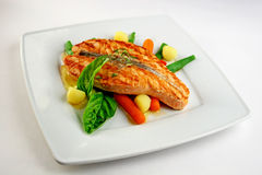Grill salmon with vegetables Stock Image