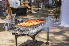 Grill Sausage of Lavender Festival of 123 Farm Royalty Free Stock Images