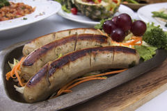 Grill Sausage and vegetables Royalty Free Stock Image