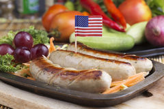 Grill Sausage and vegetables Royalty Free Stock Photos