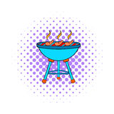 Grill sausages icon, comics style Stock Photos