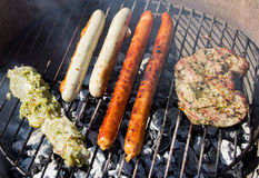Grill with sausages and meat Stock Photography