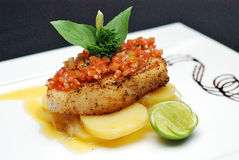Grill Sea Bass. With Lemon Sauce, selective focus stock photos