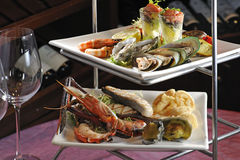 Grill Seafood. Different kind of seafood dishes Royalty Free Stock Photo