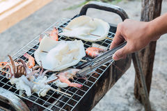 Grill seafood. On stove Stock Images