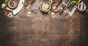 Grill Seasoning And Sauces With Vintage Kitchenware Kitchen Utensils Meat Fork And Butcher Cleaver , Knife And Herbs Mezzaluna Royalty Free Stock Images