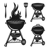 Grill set of vector objects and design elements. Isolated on white background Stock Images