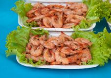 Grill of the shrimp . Grill of the shrimp with vegetables on disk Royalty Free Stock Photography