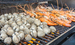 Grill shrimp and shellfish Stock Images
