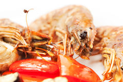 Grill shrimp with vegetables Stock Images