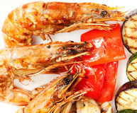 Grill shrimp with vegetables Royalty Free Stock Photography