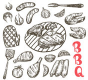 Grill Sketch food set. BBQ food is sausages, ribs, shrimp, salmon, steak, vegetables, chicken. Royalty Free Stock Images