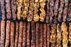 Grill skewers tło Zdjęcie Stock