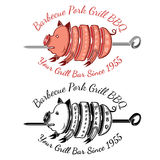 Grill slice pork on roasting-jack color and black BBQ label Royalty Free Stock Images