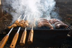 Grill and smoke. Grills and smoke Stock Images