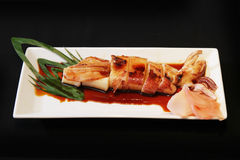 Grill Squid. Japanese style grill squid with japanese sauce Royalty Free Stock Photography