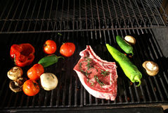 Grill - steak & fresh vegetables Stock Photo