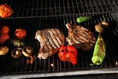 Grill - steak & fresh vegetables Stock Images