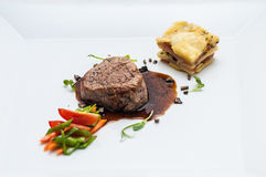 Grill steak with roasted vegetables and sauce, side dish potatoes, gastronomy, menu. Dinner or lunch time Stock Photography