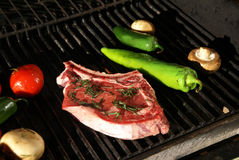Grill - steak & vegetables Stock Photography
