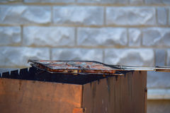 Grill with steaks for the barbecue, side  view Royalty Free Stock Photos
