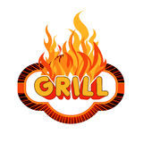 Grill sticker on flames background. Royalty Free Stock Images