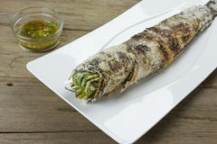 Grill striped snakehead fish with salt coated Royalty Free Stock Image