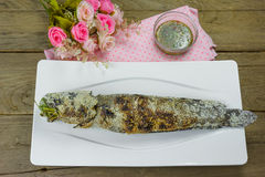 Grill striped snakehead fish with salt coated Stock Photography