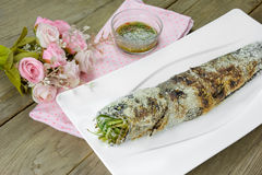 Grill striped snakehead fish with salt coated Stock Photos